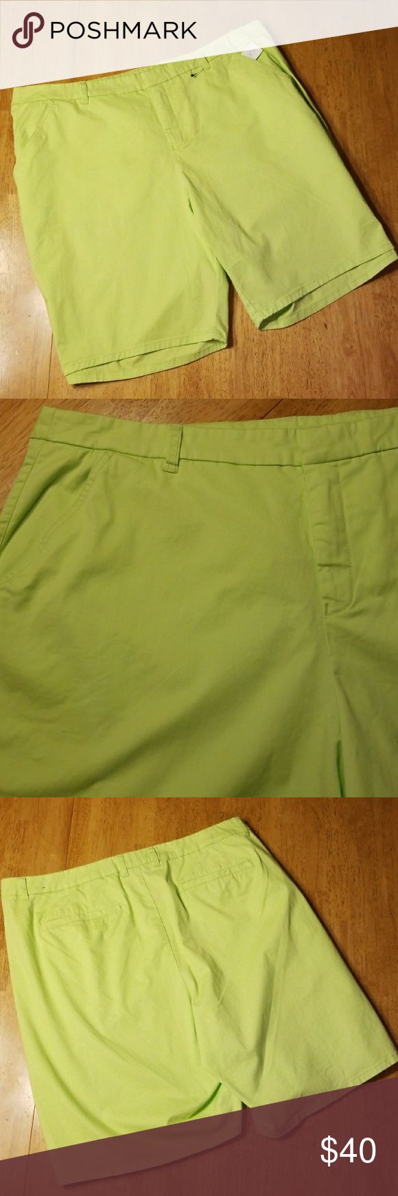 "LANE BRYANT BERMUDAS Bright Lime Green Shorts By Lane Bryant.  Size 24. Rise 12"" Inseam 10"" New With Tags Never Worn Extra Button Attached Lane Bryant Shorts"