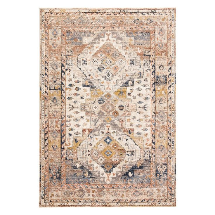 The traditional Sarinen collection enriches homes with an inviting color palette and elegantly distressed designs for an antiqued look. The Sunkaya area rug features Turkish-inspired geometric motifs that make a statement in red, blue or golden neutral tones. The durable polypropylene pile creates a smooth finish with