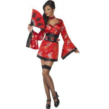 Sexy Geisha kostuum met shotglas riem. Rood Geisha jurkje met bijpassende riem waar shotglaasjes in passen.