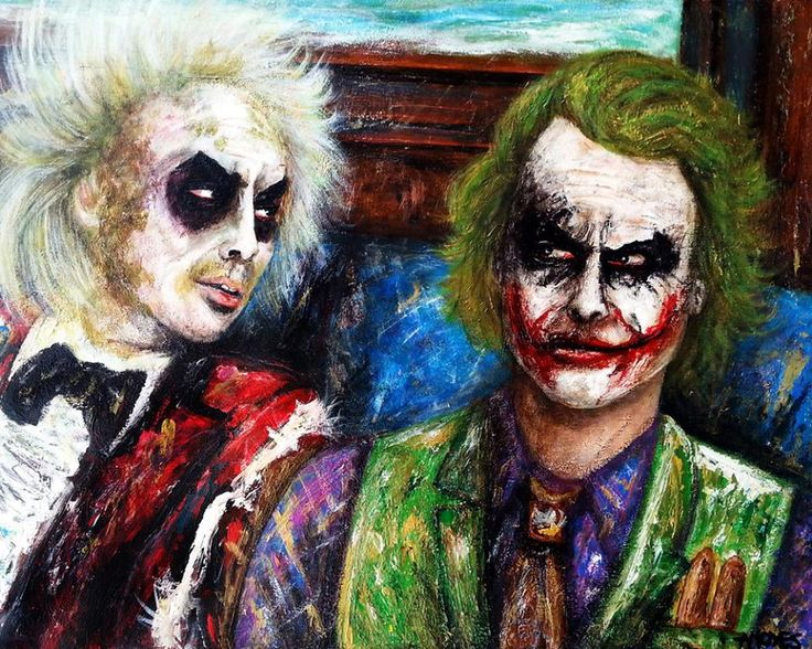 "Double trouble Acrylics canvas 24x30 inches Actor Michael Keaton, and the late Heath Ledger Beetlejuice to the Joker: ""Hey man, how about sharing one of those Cubans ? Come on man..."""