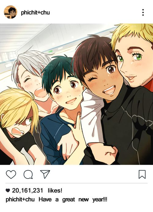 Yuri Plisetsky with Viktor Nikiforov, Katsuki Yuri, Phichit Chulanont and Christophe Giacometi - Yuri!!! On Ice