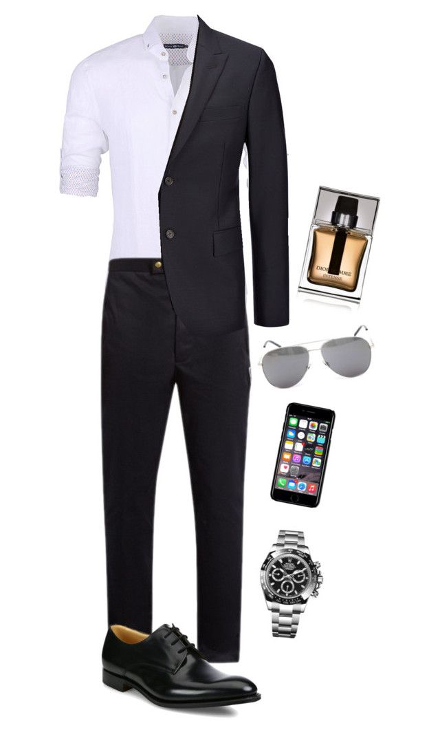 """Grey"" by andrea-levander on Polyvore featuring Stone Rose, Moncler Gamme Bleu, Church's, Joseph, Yves Saint Laurent, Off-White, Christian Dior, Rolex, men's fashion and menswear"