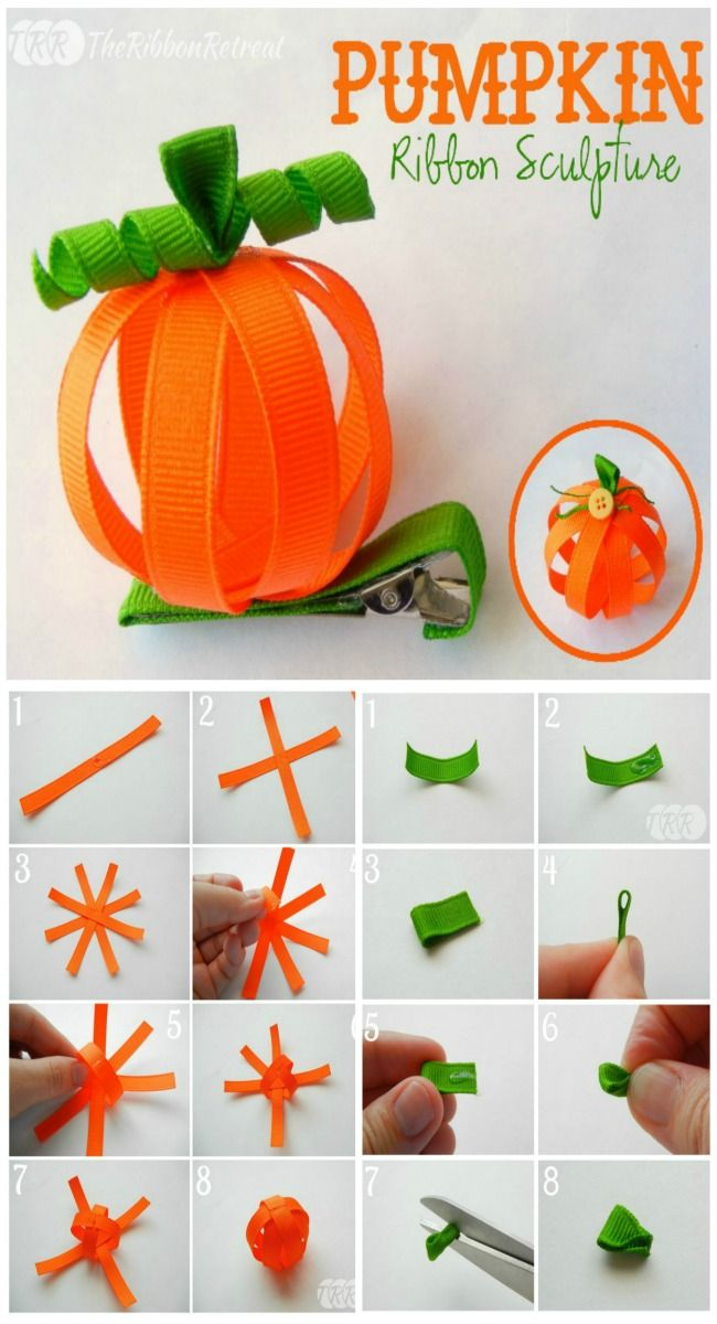 Pumpkin Ribbon Sculpture - The Ribbon Retreat Blog