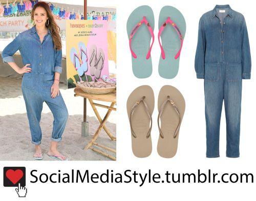 Buy Jessica Alba's Baby2baby Beach Playdate Flip Flops and Denim Jumpsuit, here!