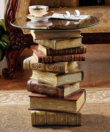 Design Toscano Power Of Books Glass Top Side Table