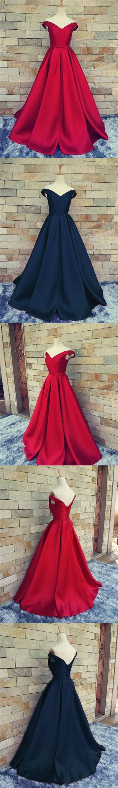 Cheap Prom Dresses Ball Gown Off-the-shoulder Long Chic Prom Dress/Evening Dress JKL293#Burgundy #navy #Ballgown #gowns #dance #longpromdress #promdress #prom #fashion #style #bowknot #dress #prom