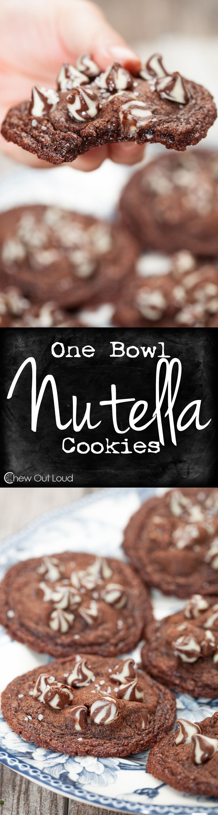 One Bowl Nutella Cookies - Only 1 bowl and 6 ingredients. Super chewy, fudgy centers and crispy edges. Nutella bliss. #recipe #dessert