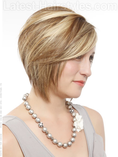 Crowning Highlights Stacked Bob Side View