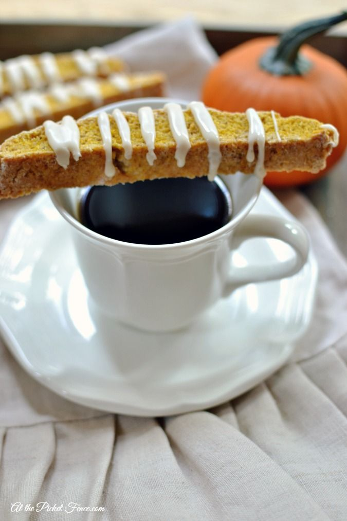 Pumpkin Pie Biscotti  with apple cider glaze for fall atthepicketfence.com