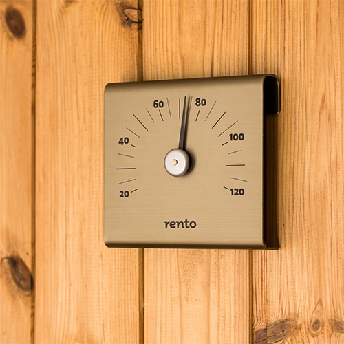 Keep track of the temperature and compliment the modern metallic hues of your sauna with the Rento Aluminum Sauna Thermometer - $28