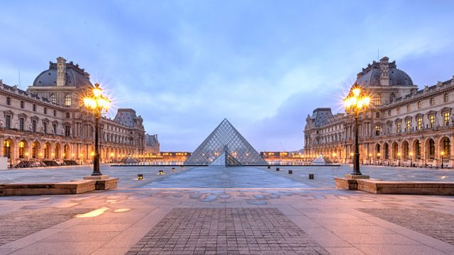 The stunning Louvre museum in Pairs, home to the Mona Lisa and close to the Jardins des Tuileries.