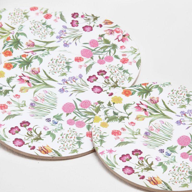 Round floral coasters (set of 4) - COASTERS - TABLEWARE | Zara Home Slovenia