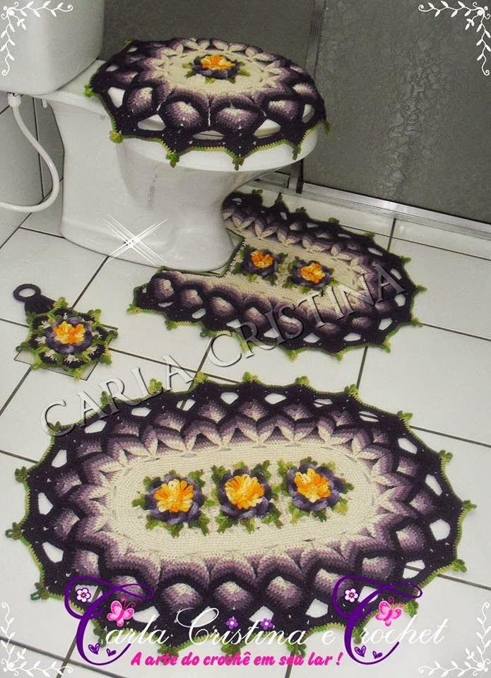 Carla Cristina & Crochet: Jogo de Banheiro Barrado Torçido