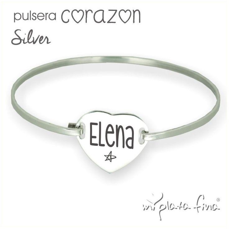 CORAZÓN silver plata de ley en pulsera rígida esclava de placa corazón con grabado personalizado nombre, frase, dibujo. #Joyasquehablandeti #miplatafina