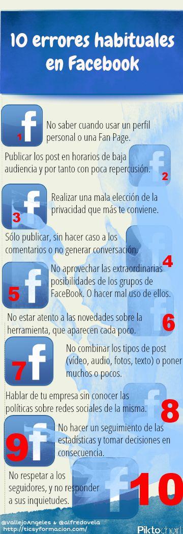 10 errores habituales en #FaceBook #Infographic #SocialMedia