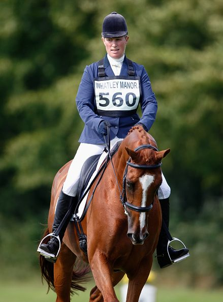 Zara Phillips competes in the dressage phase of the Whatley Manor International Horse Trials at Gatcombe Park on September 11, 2015 in Stroud, England.