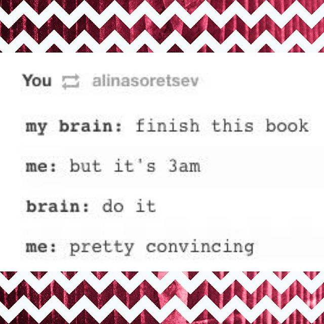 24 photos that all book-lovers will understand!! I have had this exact conversation before with my brain #noshame #bookproblems #nosleep #booknerd