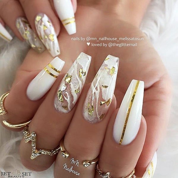 Milky White Marble Gold Flakes And Stripes On Long Coffin Nails Nail Artis White Nails With Gold Coffin Nails Designs Coffin Nails Long