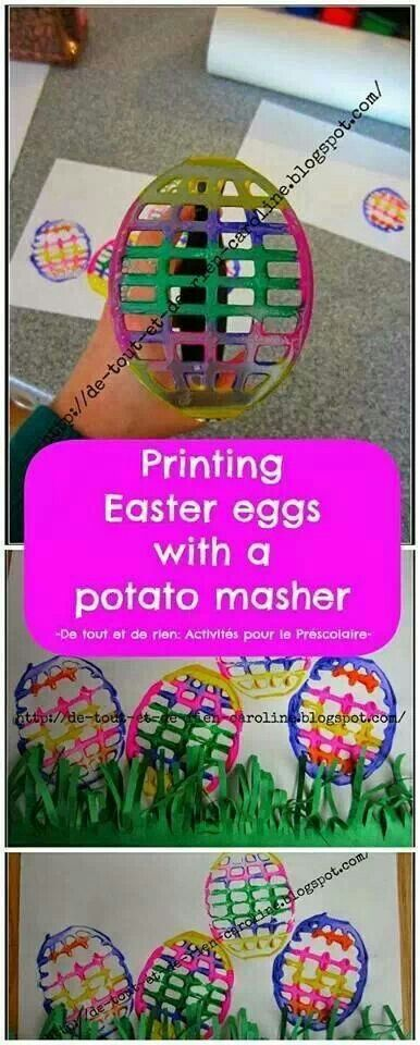 Printing Easter eggs with a potato masher