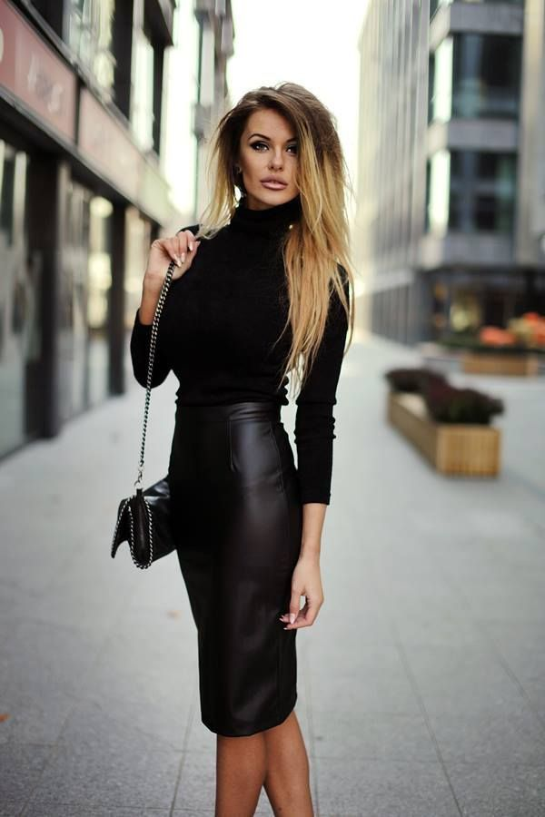 Chic black leather pencil skirt with black sweater.