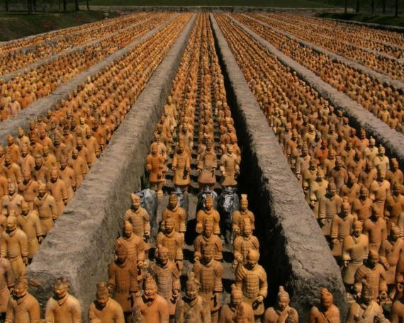 These 8,000 terra cotta warriors connect to Do-Ho Suh's figures. While ...