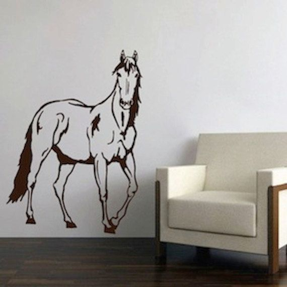 Standing Horse Wall Decal Horse Wall Mural By TrendyWallDesigns Part 65