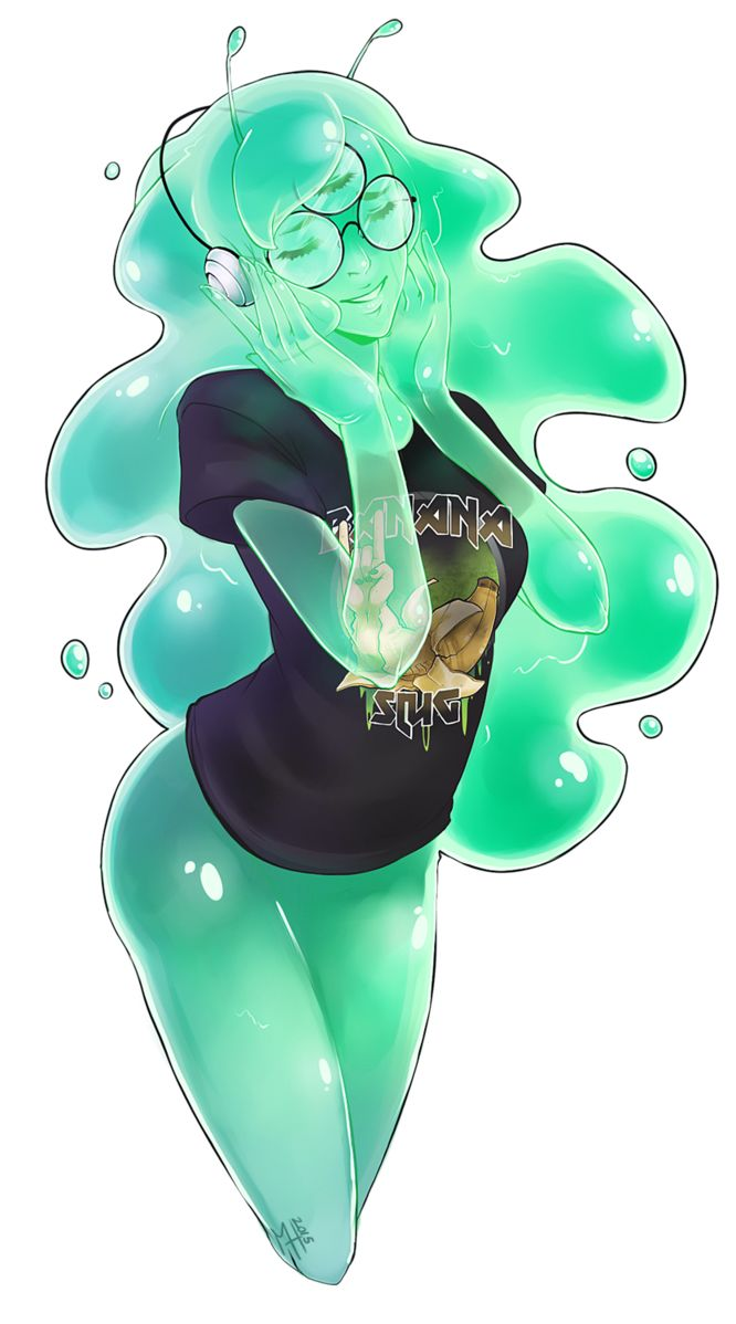 My very first slime girl monster OC thing listening to her favorite heavy metal band... BANANA SLUG!!! Thank you for the inspirational stream session my freaks~~! ♥ aka the people behi...