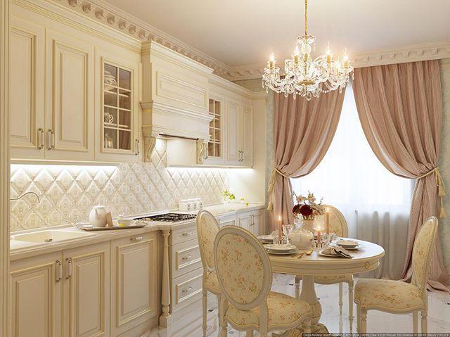 Визуализация кухни в классическом стиле в г.Атырау #дизайн #интерьера #астана #казахстан #атырау #столовая #классика #проект #квартира #проектыдомов #проектквартиры #дизайнпроект #kazakhstan #astana #dinningroom #design #interior #classic #interiordesign #project