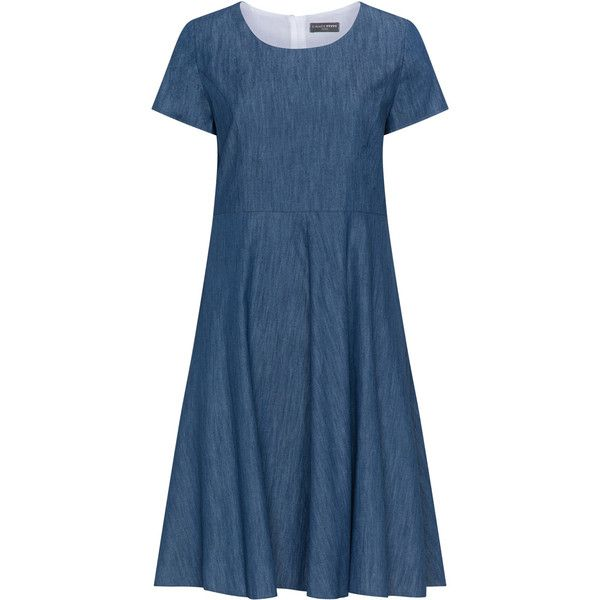 5 Hearts Blue Plus Size Short sleeve denim dress (3,650 THB) ❤ liked on Polyvore featuring dresses, blue, plus size, short-sleeve dresses, short sleeve dress, zipper dress, blue denim dress and plus size dresses