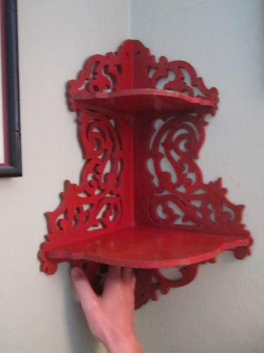 Shabby Chic Antique Vintage Wood Red Corner Wall Shelf Ornate Scroll 2 Shelves In 2018