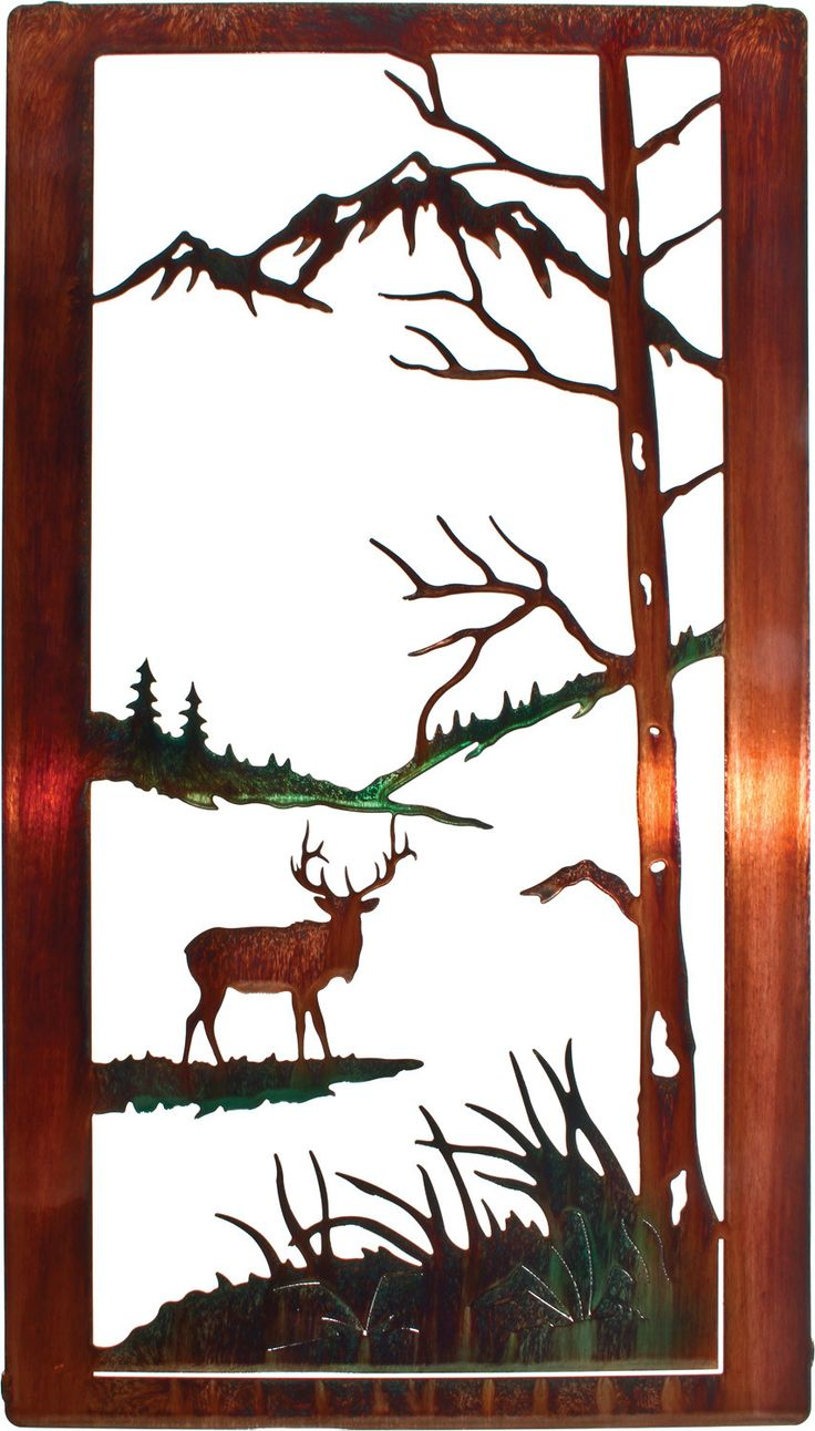 elk in nature scene laser cut metal wall art: tree scene metal wall art