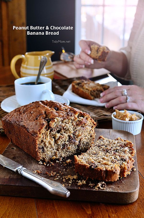 VERY ripe bananas, chocolate chips and peanut butter take this moist quick bread to a whole new level of delicious!