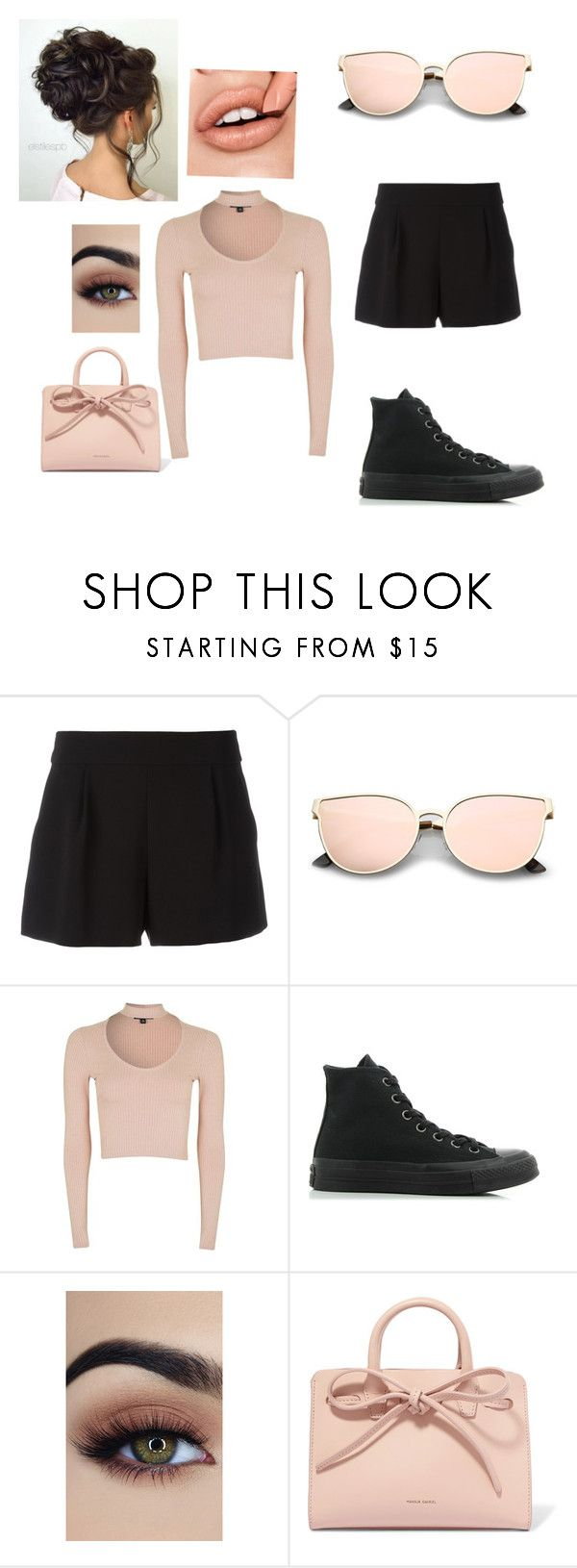 """""""Downtown outfit"""" by ianaragbar ❤ liked on Polyvore featuring Boutique Moschino, Topshop, Converse and Mansur Gavriel"""
