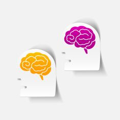 realistic design element: head face brain vector art illustration