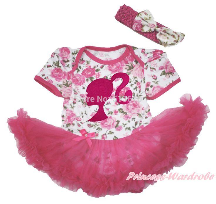 Ярко розовый хвост кукла девушка цветочные боди ярко розовый юбка детское платье NB-18Month MAJS0227