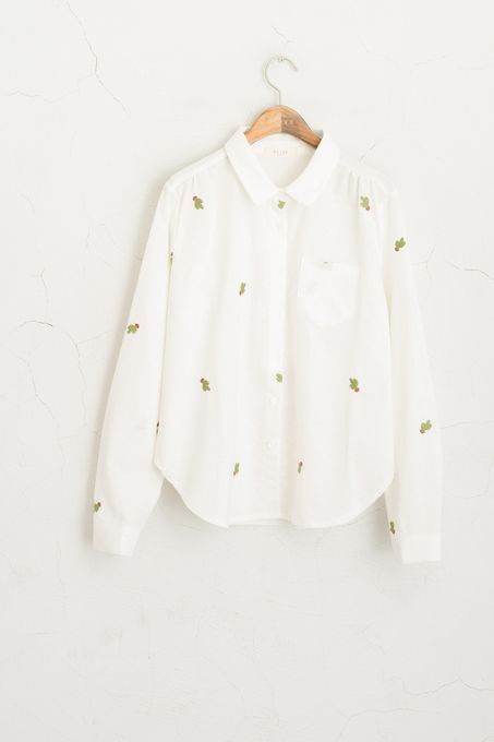 Cactus Stitch Shirt Ivory 100% Cotton, OLIVE CLOTHING