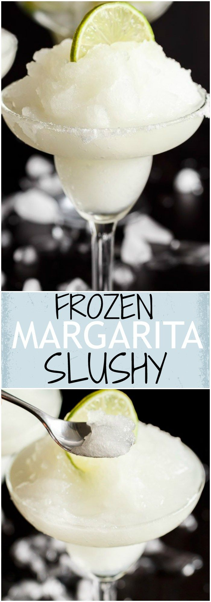Frozen Margarita Slushy blends the original Margarita made with Tequila and fresh lime juice with ice cubes to make a refreshing icy drink! | http://cafedelites.com