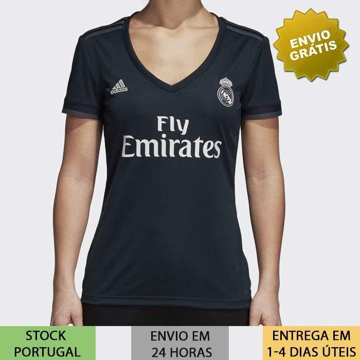 af28693f8e11c9 Camisola Real Madrid Feminina 2018/2019 preta camisa de 2019 | Loja ...