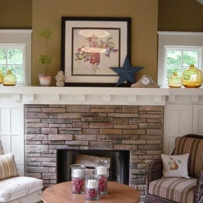 Nice Stone Fireplace Surround White Wood Mantel Design Ideas, Pictures, Remodel,  And Decor   Page 36
