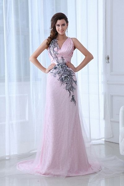 Trumpet-Mermaid Tulle Classic Party Gown wr2511 - http://www.weddingrobe.co.uk/trumpet-mermaid-tulle-classic-party-gown-wr2511.html - NECKLINE: V-Neck. FABRIC: Tulle. SLEEVE: Sleeveless. COLOR: Pink. SILHOUETTE: Trumpet/Mermaid. - 154.59
