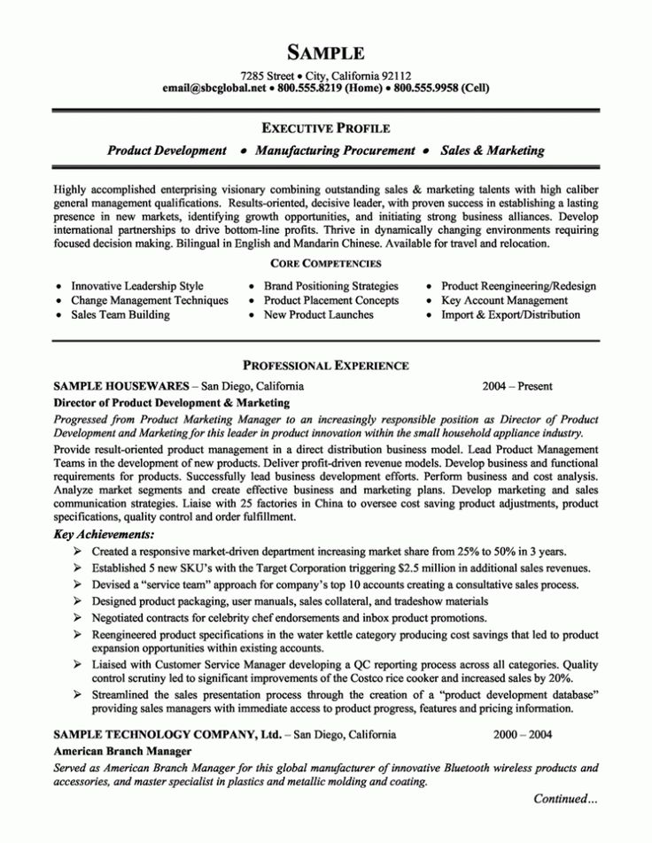 143 best Resume Samples images on Pinterest Resume examples - resume format for sales executive
