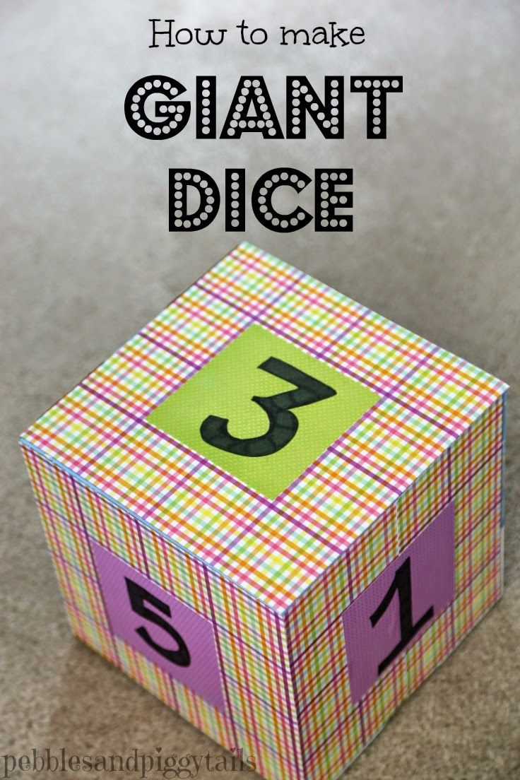 How to make GIANT DICE. Great idea for teaching music! Includes a game for helping kids remember a song. Could use for school or parties too.