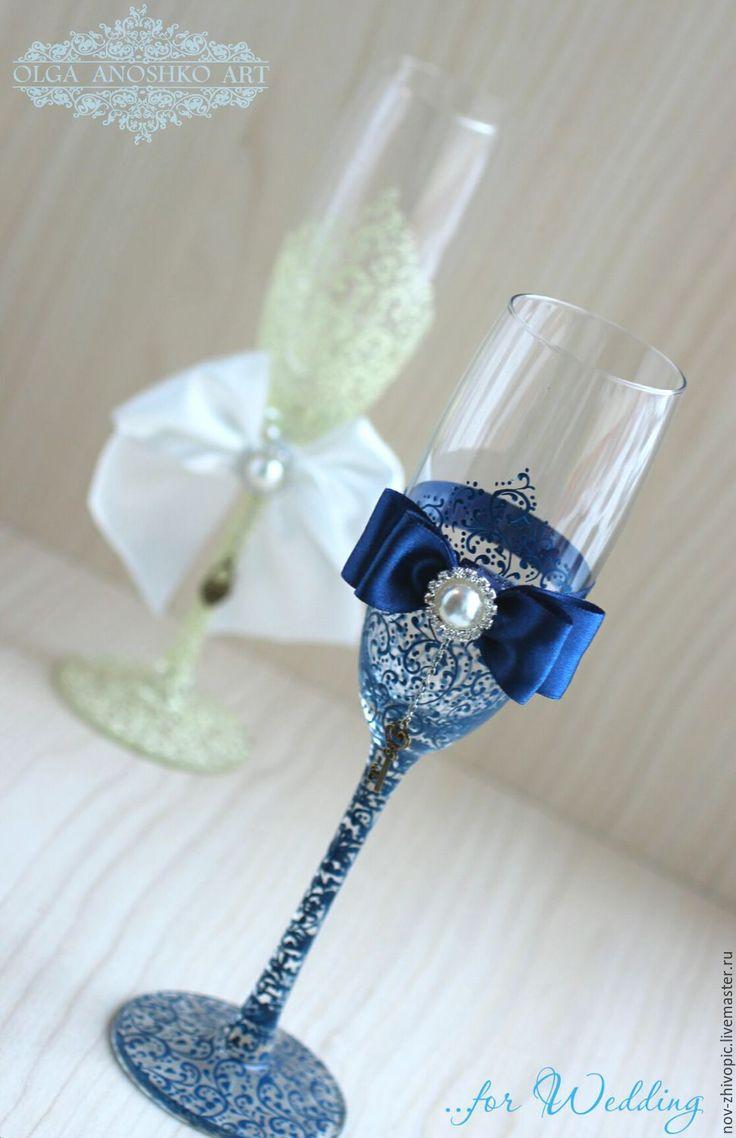 """Купить Свадебные бокалы """"Красивая пара""""(синий+айвори). Роспись. - бокалы для свадьбы, бокалы для молодоженов, Бокалы"""