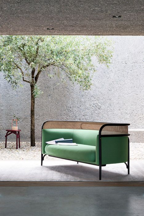 gam fratesi for thonet http://www.uk-rattanfurniture.com/product/rattan-bench-seat-multi-coloured-striped/