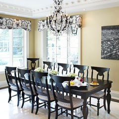 like the light walls dark furniture and chandelier.... also like the window treatment...