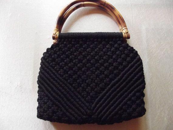 Vintage Black Macrame purse or tote. Possibly by PinnacleTreasures