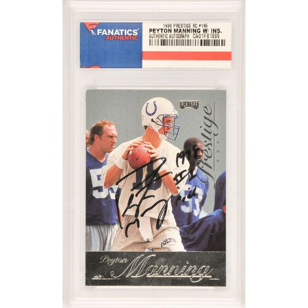 Peyton Manning Indianapolis Colts Fanatics Authentic Autographed 1998 Playoff Prestige Rookie #165 Card with 1998 #1 Pick Inscription - $299.99
