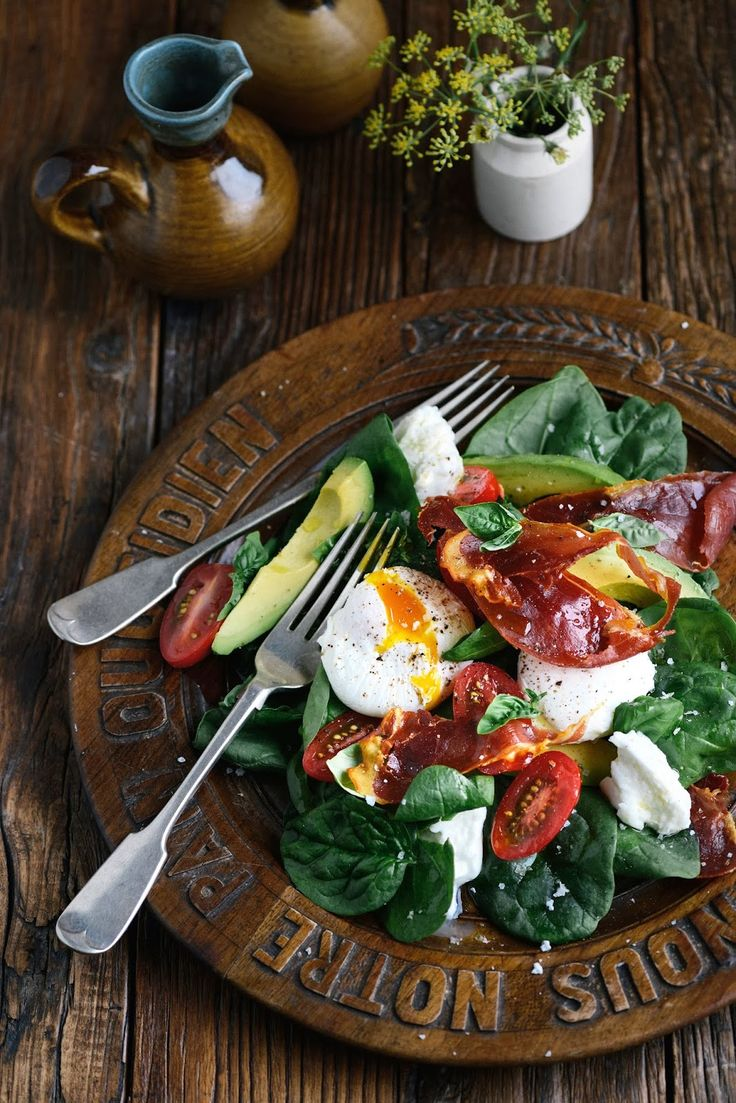 From The Kitchen: Morning, Noon or Night Salad - Spinach, Prosciutto, Avocado, Mozzarella, Tomatoes, Basil + Vinaigrette.