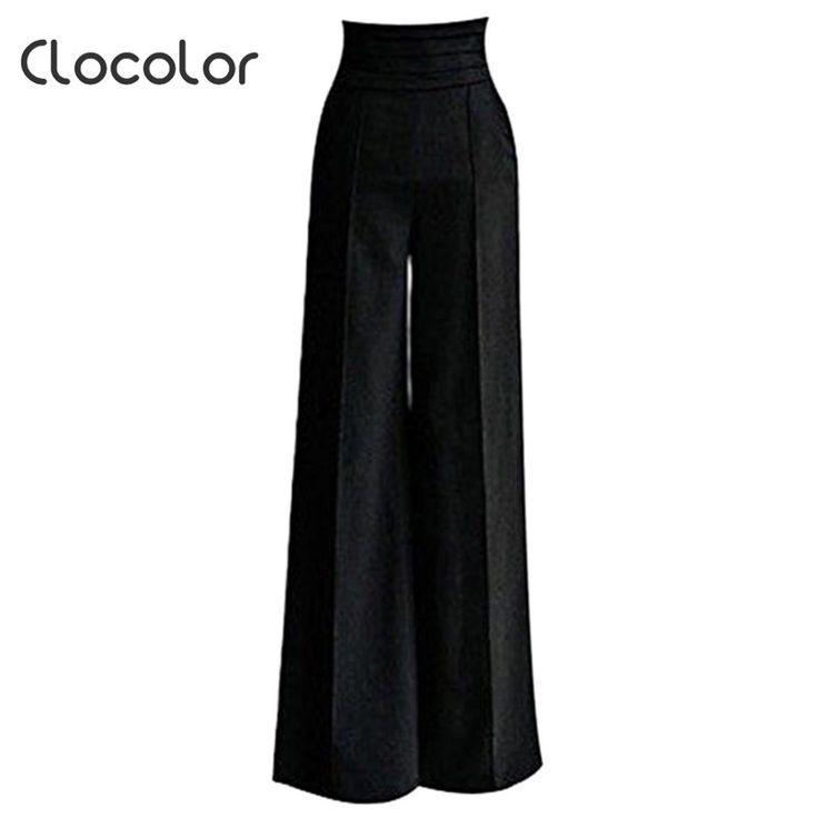 12.64$  Buy here - Clocolor women pants black Women High Waisted loose wide leg long full pants Female girls Fashion Pants Trousers women pants   #magazineonlinewebsite