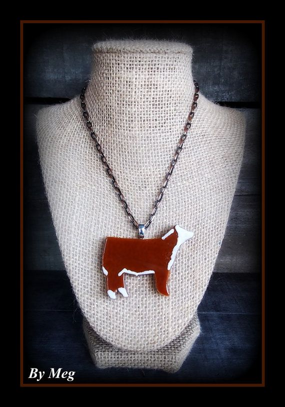 Hereford cattle pendant all glass hand painted with chain necklace